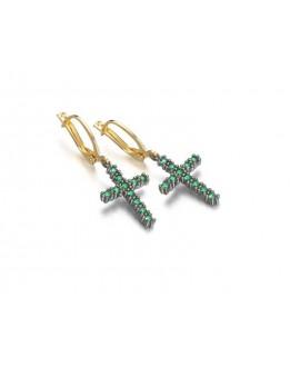 Pendientes Lecarre cruz verde