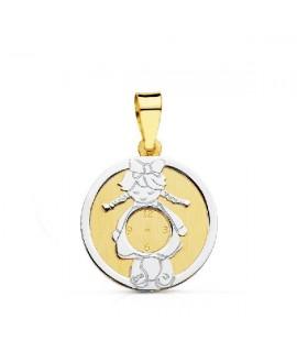 Medalla niña oro bicolor...