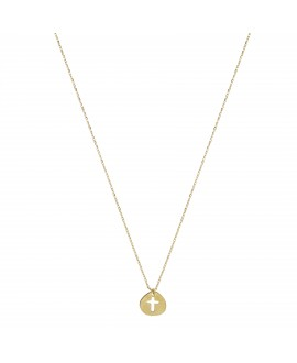 Collar MUA MUA placa cruz ,oro