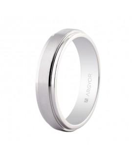 Alianza plana de platino satinado 5mm