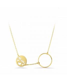 Collar de oro MAMA con circulo