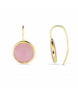 Pendiente oro piedra rosa...