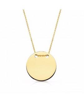 Collar de oro medalla lisa,...