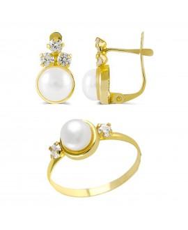 Juego de comunión en oro con tres circonitas y perlas