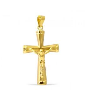 Cruz moderna con cristo en oro