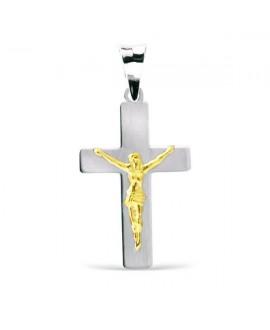 Cruz oro blanco con cristo...