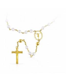 Rosario de oro y perlas