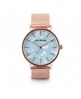 Reloj Mr Boho Metallic  Rosado Mop Azul - 36Mm
