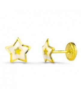 Pendiente estrella esmalte oro