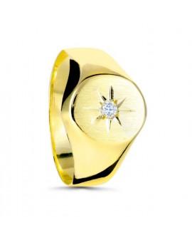Anillo sello de la estrella polar 9x10 mm oro