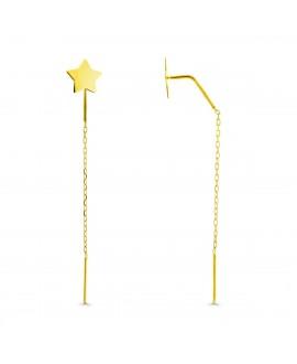 Pendientes estrella cadena oro 4cm
