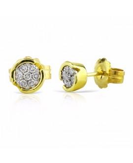 Pendiente de brillantes oro amarillo 6mm
