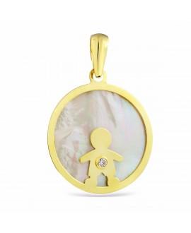 Colgante de oro con nacar...