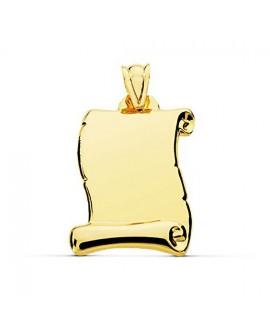 Placa pergamino pequeño oro