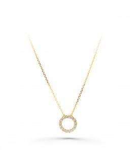 Colgante con cadena de oro, circulo con circonitas 7mm