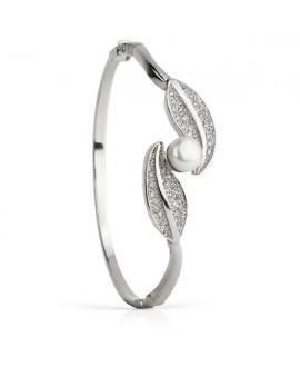 Pulsera caña de plata con perlas