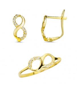 Conjunto de comunión infinito de oro con piedras
