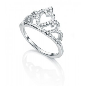 Anillo de plata corona corazón