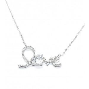 Collar de plata LOVE en...